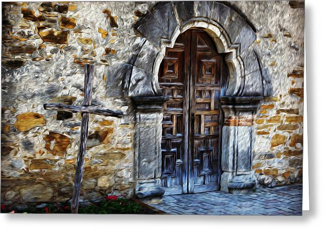 Wooden Sculpture Greeting Cards - Mission Espada - San Antonio Greeting Card by Stephen Stookey