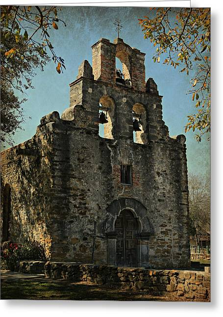 Mexican Sculpture Greeting Cards - Mission Espada Greeting Card by Stephen Stookey