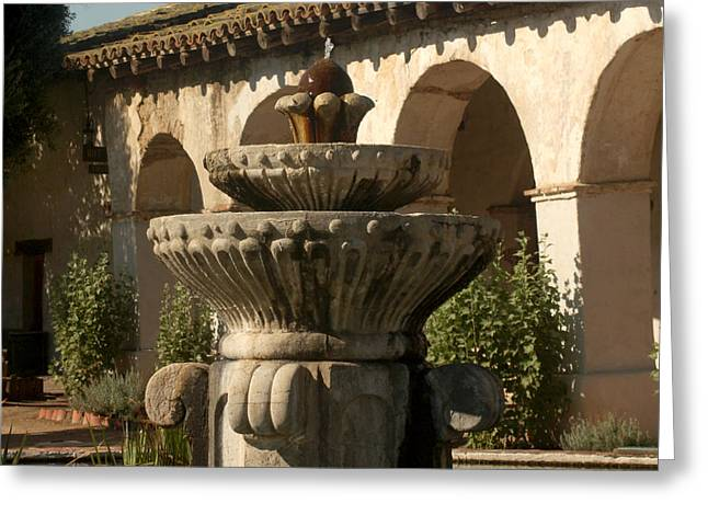 Franciscian Greeting Cards - Mission Fountain Greeting Card by Art Block Collections