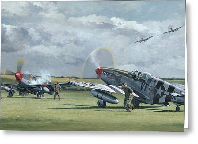 Spitfire Greeting Cards - Mission from Debden Greeting Card by Wade Meyers