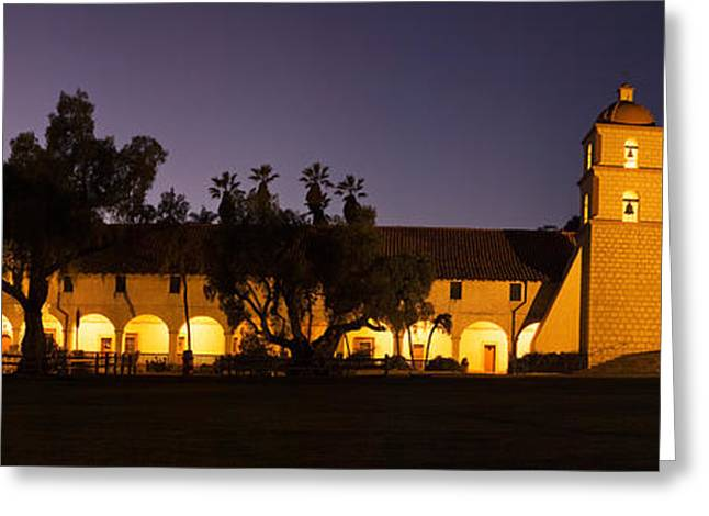 Mission Santa Barbara Greeting Cards - Mission Lit Up At Night, Mission Santa Greeting Card by Panoramic Images