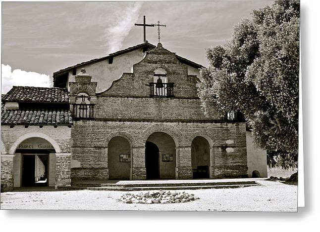 Catholic Pyrography Greeting Cards - Mission San Antonio de Padua Greeting Card by DUG Harpster
