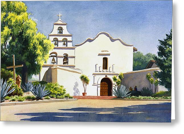 Historic Sites Greeting Cards - Mission San Diego De Alcala Greeting Card by Mary Helmreich
