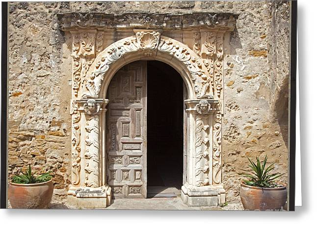 Interior Still Life Greeting Cards - Mission San Jose Chapel Entry Doorway Greeting Card by John Stephens