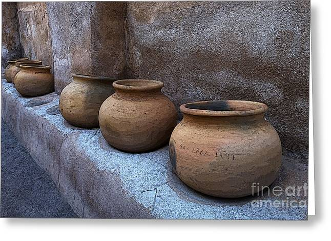 Historical Buildings Greeting Cards - Mission San Jose De Tumacacori Pottery Greeting Card by Bob Christopher