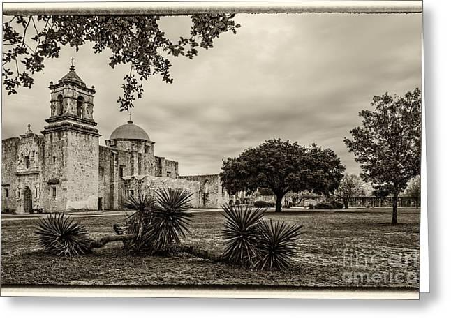 Riverwalk Greeting Cards - Mission San Jose in Vintage Yellowed Tint - San Antonio Missions Texas Greeting Card by Silvio Ligutti