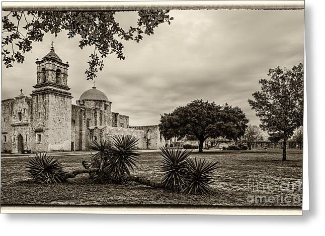 Mission San Jose In Vintage Yellowed Tint - San Antonio Missions Texas Greeting Card by Silvio Ligutti