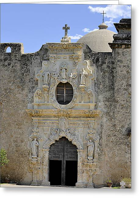 Historic Sites Greeting Cards - Mission San Jose - San Antonio TX Greeting Card by Christine Till