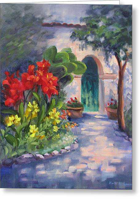 Mission San Juan Bautista Cana Lilies  Greeting Card by Karin  Leonard