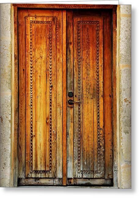 Mission San Juan Capistrano Door -- San Antonio Greeting Card by Stephen Stookey