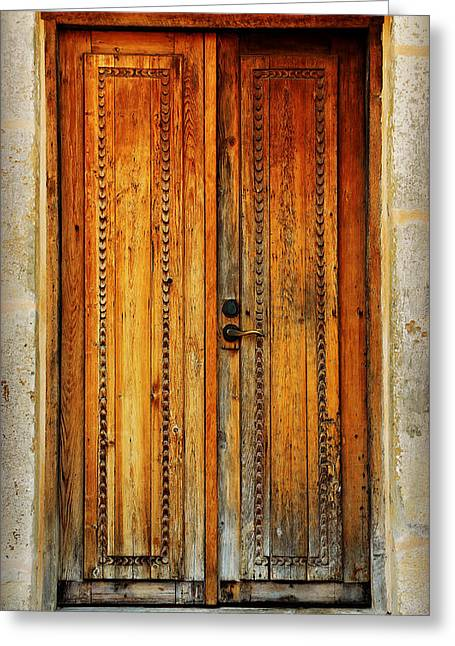Best Sellers -  - Wooden Sculpture Greeting Cards - Mission San Juan Capistrano Door -- San Antonio Greeting Card by Stephen Stookey