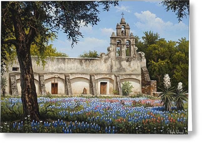 San Juan Paintings Greeting Cards - Mission San Juan Greeting Card by Kyle Wood