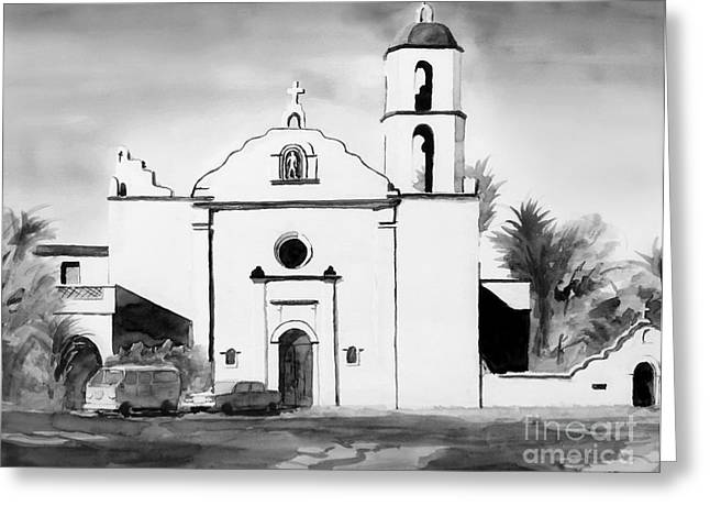 Escape Mixed Media Greeting Cards - Mission San Luis Rey BW Blue Greeting Card by Kip DeVore