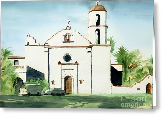 Escape Mixed Media Greeting Cards - Mission San Luis Rey Colorful II Greeting Card by Kip DeVore