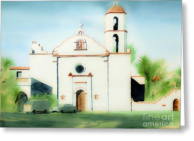 Escape Mixed Media Greeting Cards - Mission San Luis Rey Dreamy Greeting Card by Kip DeVore