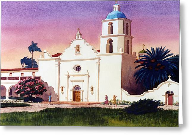 Luis Greeting Cards - Mission San Luis Rey Greeting Card by Mary Helmreich