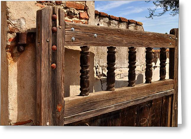 Gateway Church Greeting Cards - Mission San Miguel Arcangel Gate Greeting Card by Tony Ramos