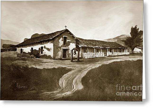 Mission San Rafael Greeting Cards - Mission San Rafael California  circa 1880 Greeting Card by California Views Mr Pat Hathaway Archives
