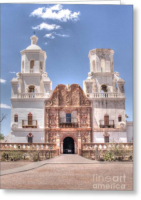 Mission San Xavier Greeting Card by Bob Hislop