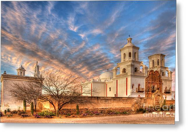 Catholic Mission Greeting Cards - Mission San Xavier Del Bac 1 Greeting Card by Bob Christopher
