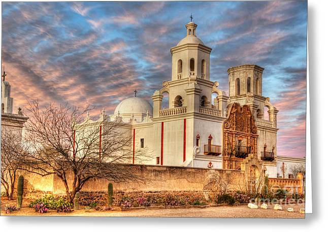 Bob Christopher Greeting Cards - Mission San Xavier Del Bac 2 Greeting Card by Bob Christopher