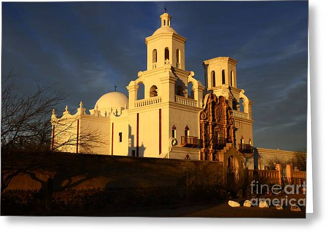 Catholic Mission Greeting Cards - Mission San Xavier Del Bac Last Light Greeting Card by Bob Christopher