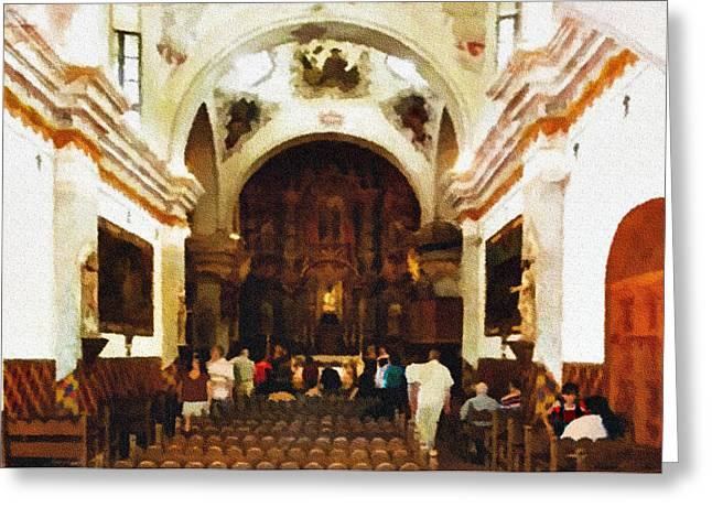 Medieval Temple Digital Greeting Cards - Mission San Xavier del Bac Greeting Card by  Bob and Nadine Johnston