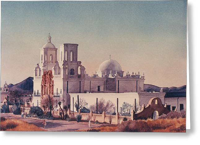Desert Paintings Greeting Cards - Mission San Xavier Del Bac Tucson Greeting Card by Mary Helmreich