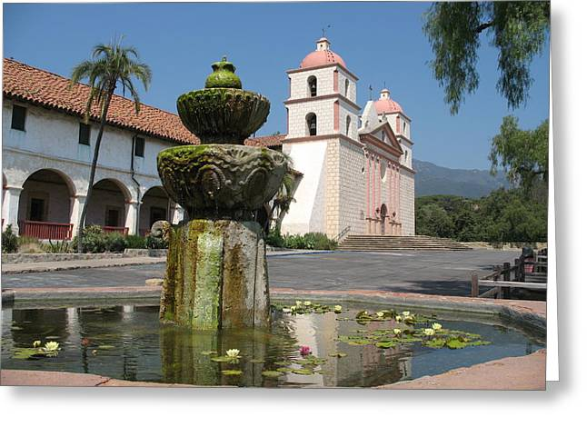 Fontain Greeting Cards - Mission Santa Barbara And Fountain Greeting Card by Christiane Schulze Art And Photography