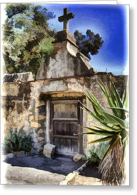Mission Santa Barbara Greeting Cards - Mission Santa Barbara - Cemetary Greeting Card by Jon Berghoff