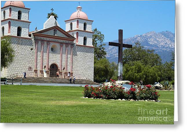 Church Photos Greeting Cards - Mission Santa Barbara Greeting Card by Methune Hively