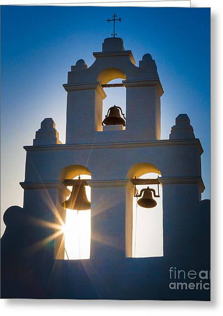 Western Culture Greeting Cards - Mission Sunset Greeting Card by Inge Johnsson