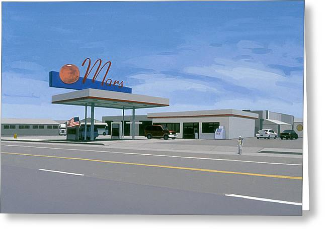 Gas Station Greeting Cards - Mission to Mars Greeting Card by Scott Listfield
