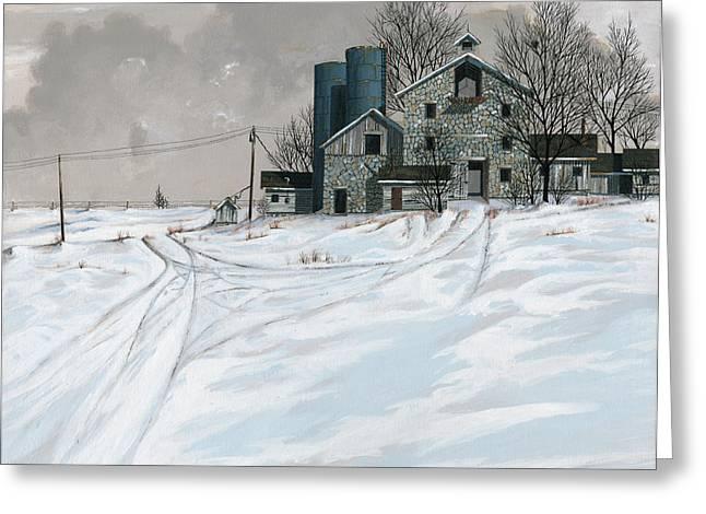 Stone Paintings Greeting Cards - Mission Valley Farmstead Greeting Card by John Wyckoff