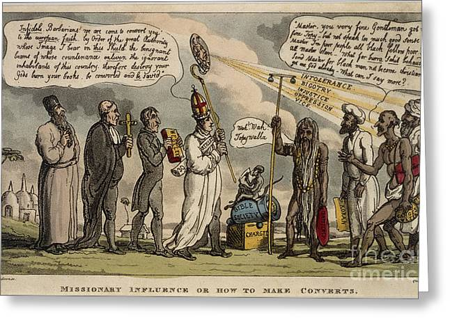 Rowlandson Greeting Cards - Missionary Influence Greeting Card by British Library