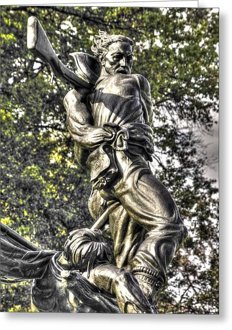 Pitzer Woods Greeting Cards - Mississippi at Gettysburg - Defending a Fallen Comrade Greeting Card by Michael Mazaika