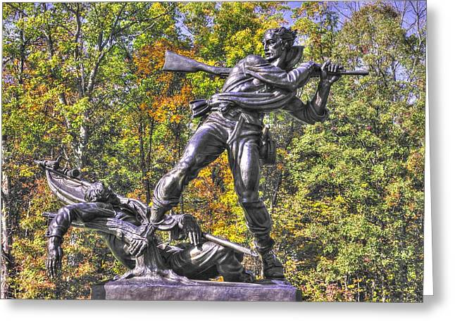 Pitzer Woods Greeting Cards - Mississippi at Gettysburg - Defending the Fallen Colors No. 1 Greeting Card by Michael Mazaika