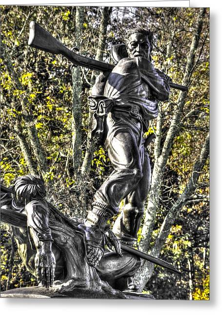 Pitzer Woods Greeting Cards - Mississippi at Gettysburg - Defending the Fallen Colors No. 2 Greeting Card by Michael Mazaika