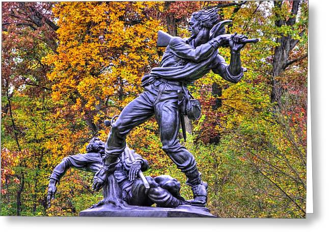 Pitzer Woods Greeting Cards - Mississippi at Gettysburg - Desperate Hand-to-Hand Fighting No. 5 Greeting Card by Michael Mazaika