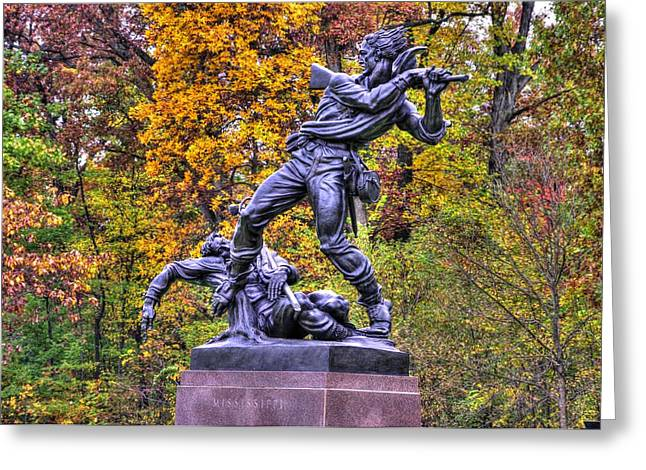 Pitzer Woods Greeting Cards - Mississippi at Gettysburg - On This Ground Our Brave Sires Fought.... Greeting Card by Michael Mazaika