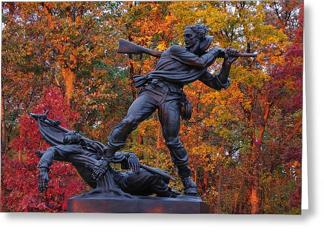 Pitzer Woods Greeting Cards - Mississippi at Gettysburg - The Rage of Battle No. 1 Greeting Card by Michael Mazaika