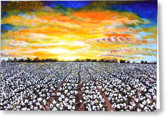 Mississippi Delta Cotton Field Sunset Greeting Card by Karl Wagner