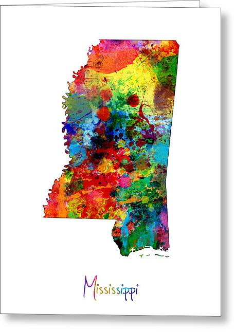 Mississippi Map Greeting Cards - Mississippi Map Greeting Card by Michael Tompsett