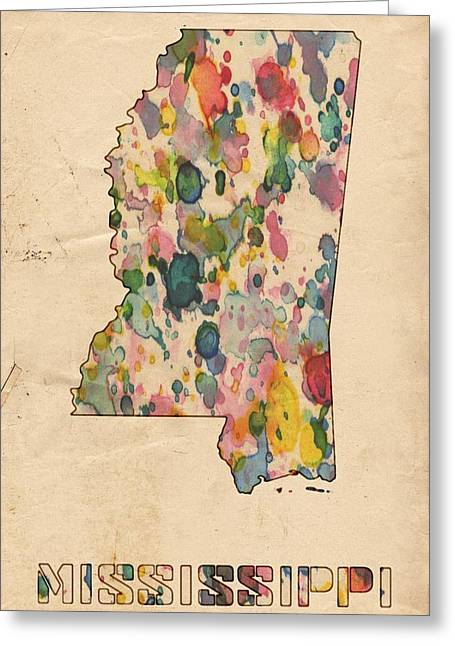 Mississippi Map Greeting Cards - Mississippi Map Vintage Watercolor Greeting Card by Florian Rodarte