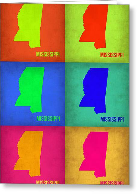 Mississippi Map Greeting Cards - Mississippi Pop Art Map 1 Greeting Card by Naxart Studio
