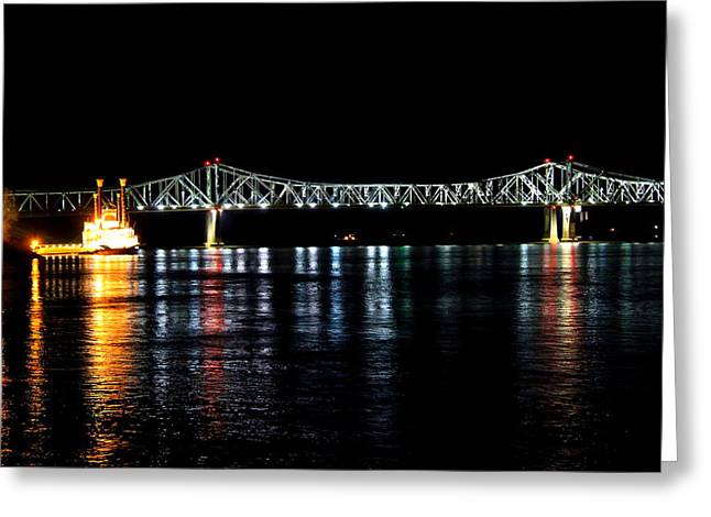 Mississippi River Bridge At Night Greeting Card by Mary Koval