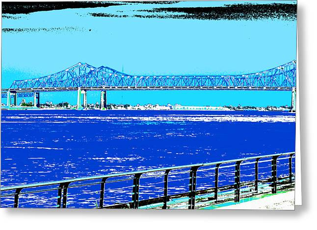 Greeting Cards Greeting Cards - Mississippi River Bridge Poster Greeting Card by Alys Caviness-Gober