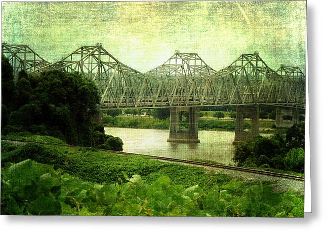 Natchez Trace Greeting Cards - Mississippi River Bridge Greeting Card by Terry Eve Tanner