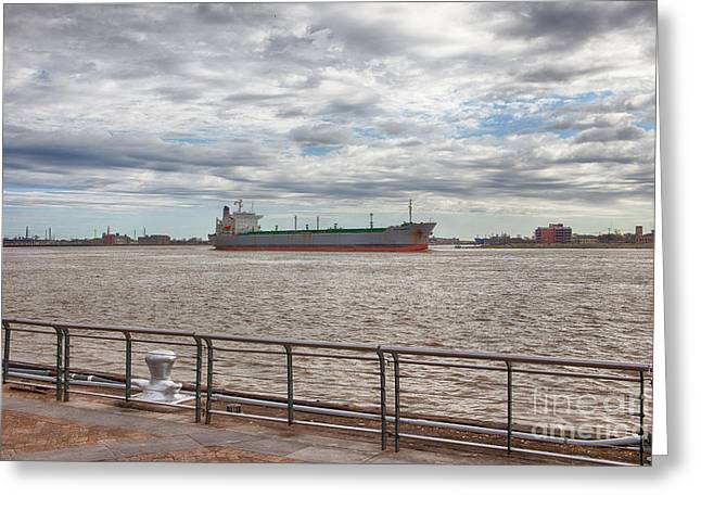 Riverwalk Greeting Cards - Mississippi River in New Orleans Greeting Card by Kay Pickens