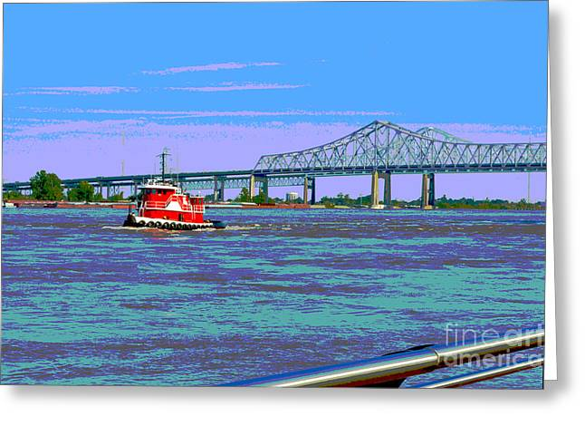 Barges Greeting Cards Greeting Cards - Mississippi River Scene Poster Greeting Card by Alys Caviness-Gober